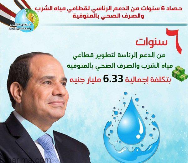 شركة مياه المنوفية: 6.33 مليار جنيه إجمالي استثمارات قطاع مياه الشرب والصرف الصحي بالمنوفية