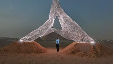 Photo of بالصور..شاهد العمل الإبداعي للفنان العالمي لورينزو كوين بالأهرامات